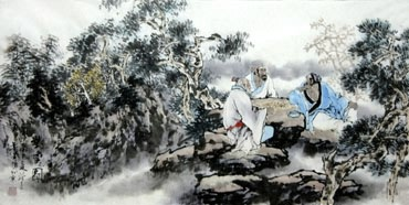Chinese Gao Shi Play Chess Tea Song Painting,50cm x 100cm,3711069-x