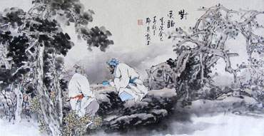 Chinese Gao Shi Play Chess Tea Song Painting,50cm x 100cm,3711073-x