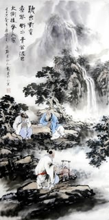 Chinese Gao Shi Play Chess Tea Song Painting,50cm x 100cm,3711081-x