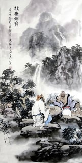 Chinese Gao Shi Play Chess Tea Song Painting,50cm x 100cm,3711082-x