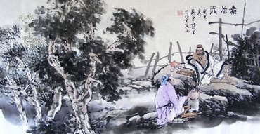 Chinese Gao Shi Play Chess Tea Song Painting,50cm x 100cm,3711084-x