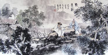 Chinese Gao Shi Play Chess Tea Song Painting,50cm x 100cm,3711087-x