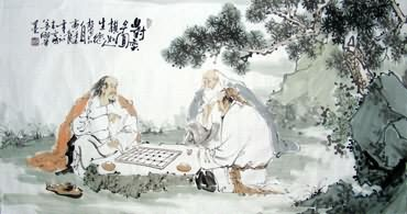 Chinese Gao Shi Play Chess Tea Song Painting,50cm x 100cm,3725007-x