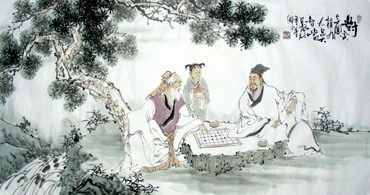 Chinese Gao Shi Play Chess Tea Song Painting,50cm x 100cm,3725009-x