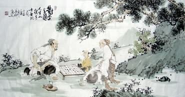 Chinese Gao Shi Play Chess Tea Song Painting,50cm x 100cm,3725010-x