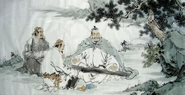 Chinese Gao Shi Play Chess Tea Song Painting,66cm x 136cm,3725011-x