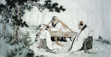 Chinese Gao Shi Play Chess Tea Song Painting,66cm x 136cm,3725016-x