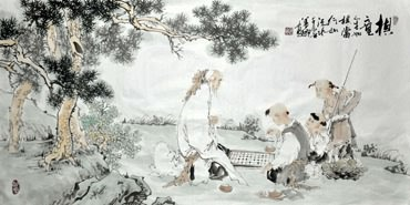 Chinese Gao Shi Play Chess Tea Song Painting,50cm x 100cm,3725017-x