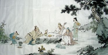 Chinese Gao Shi Play Chess Tea Song Painting,66cm x 136cm,3725018-x