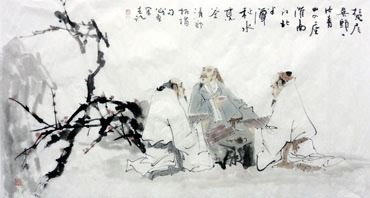 Chinese Gao Shi Play Chess Tea Song Painting,69cm x 138cm,3728005-x