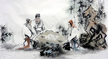 Chinese Gao Shi Play Chess Tea Song Painting,66cm x 130cm,3763006-x