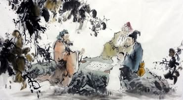 Chinese Gao Shi Play Chess Tea Song Painting,66cm x 130cm,3763007-x
