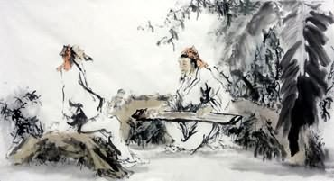 Chinese Gao Shi Play Chess Tea Song Painting,66cm x 130cm,3763008-x