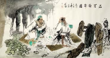Chinese Gao Shi Play Chess Tea Song Painting,66cm x 136cm,3763009-x