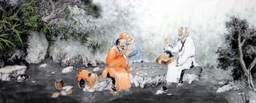 Chinese Gao Shi Play Chess Tea Song Painting,96cm x 240cm,3764009-x