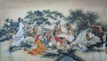 Chinese Gao Shi Play Chess Tea Song Painting,69cm x 138cm,3803040-x