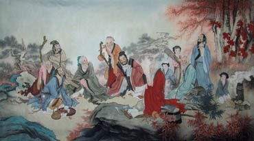 Chinese Gao Shi Play Chess Tea Song Painting,97cm x 180cm,3803041-x