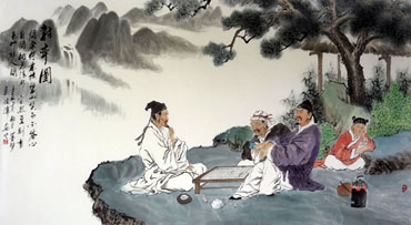 Chinese Gao Shi Play Chess Tea Song Painting,97cm x 180cm,3805006-x