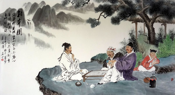 Chinese Gao Shi Play Chess Tea Song Painting The three old ...