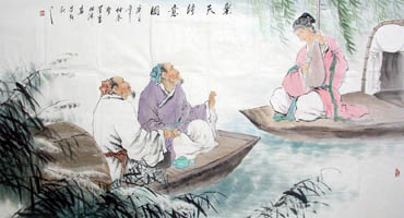 Chinese Gao Shi Play Chess Tea Song Painting,97cm x 180cm,3805007-x