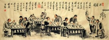 Chinese Genre Painting,50cm x 130cm,3678001-x