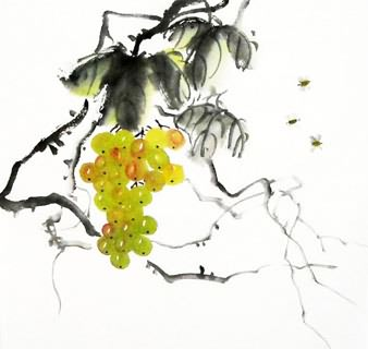 Chinese Grape Painting,33cm x 33cm,2317008-x