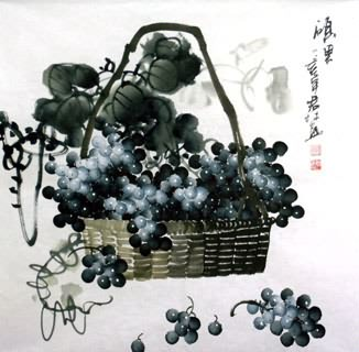 Chinese Grape Painting,69cm x 69cm,2317009-x