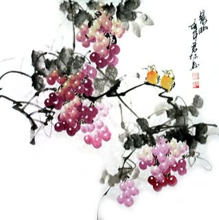 Chinese Grape Painting,69cm x 69cm,2317010-x