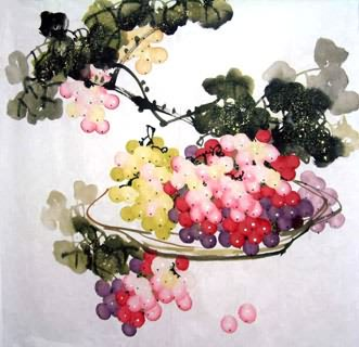 Chinese Grape Painting,66cm x 66cm,2317012-x