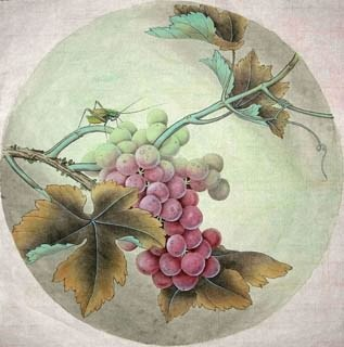 Chinese Grape Painting,38cm x 38cm,2342002-x