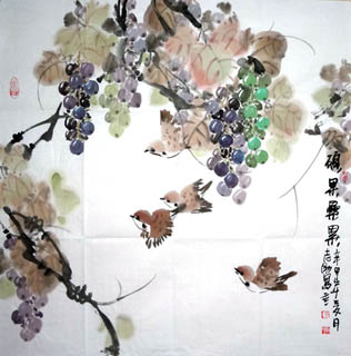 Chinese Grape Painting,69cm x 69cm,2360083-x