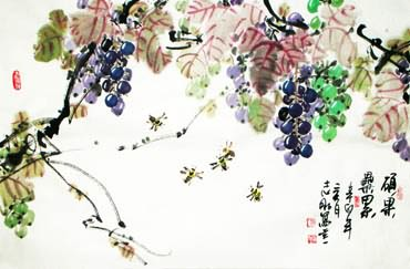 Chinese Grape Painting,69cm x 46cm,2360085-x