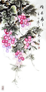 Chinese Grape Painting,48cm x 96cm,2384017-x