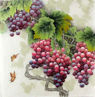Chinese Grape Painting,66cm x 66cm,2387023-x