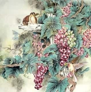Chinese Grape Painting,66cm x 66cm,2416021-x