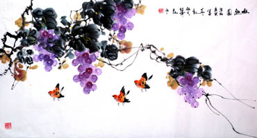 Chinese Grape Painting,50cm x 100cm,2437002-x
