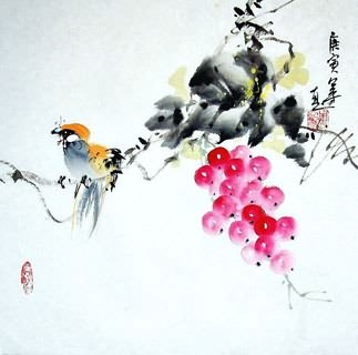 Chinese Grape Painting,33cm x 33cm,2437003-x