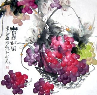 Chinese Grape Painting,66cm x 66cm,2469006-x