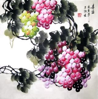 Chinese Grape Painting,66cm x 66cm,2484002-x