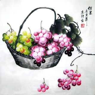 Chinese Grape Painting,66cm x 66cm,2484003-x