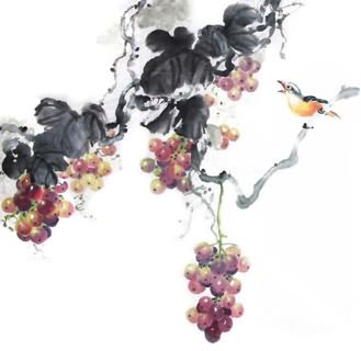 Chinese Grape Painting,50cm x 50cm,2485037-x