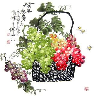 Chinese Grape Painting,66cm x 66cm,2552004-x