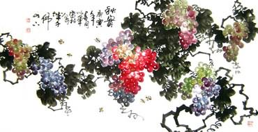 Chinese Grape Painting,66cm x 130cm,2552005-x