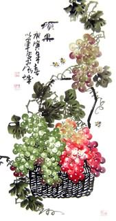 Chinese Grape Painting,50cm x 100cm,2552006-x