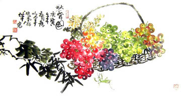 Chinese Grape Painting,50cm x 100cm,2552007-x
