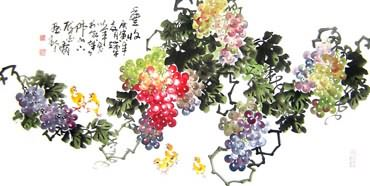 Chinese Grape Painting,66cm x 130cm,2552010-x