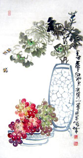 Chinese Grape Painting,50cm x 100cm,2552016-x