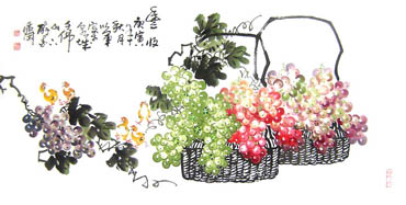 Chinese Grape Painting,66cm x 130cm,2552018-x