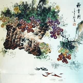 Chinese Grape Painting,69cm x 69cm,2554001-x