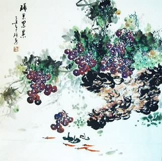 Chinese Grape Painting,69cm x 69cm,2554002-x